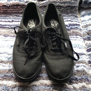 All Black Authentic Lo Pro Vans, Great Condition